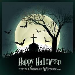 árbol de halloween en el cementerio