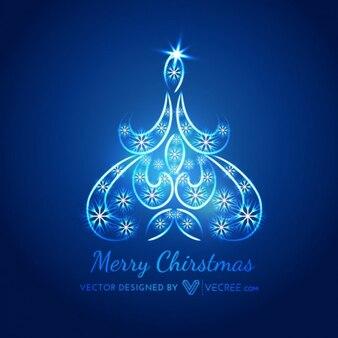 árbol de Navidad azul con copos de nieve
