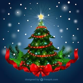 Árbol de navidad con lazo rojo