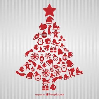 Árbol de Navidad de color rojo con iconos