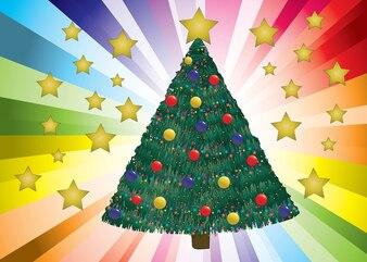 árbol de Navidad decorado vector