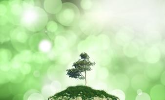 Árbol en una montaña