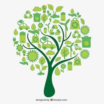 Árbol hecho de iconos eco