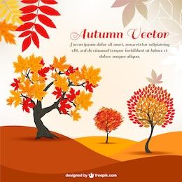 árboles de la historieta del otoño en el fondo
