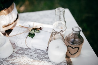 Arreglo de boda pareja rural verde