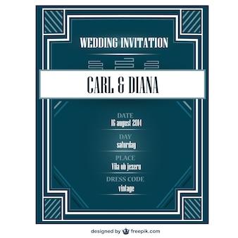 Tarjeta de invitación de la boda estilo art déco