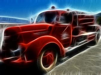 Arte fractal fuego vehículo camión
