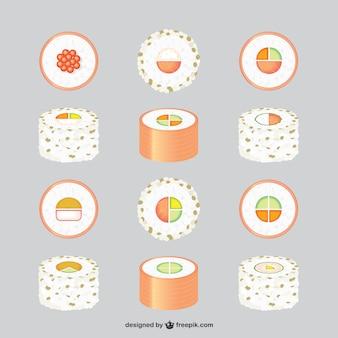Colección de vectores de comida asiática