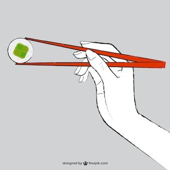Vector comiendo comida asiática
