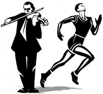 atleta y el arte violinista vector Clip