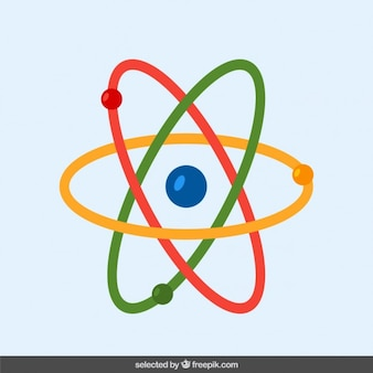 Átomo colorido en diseño plano