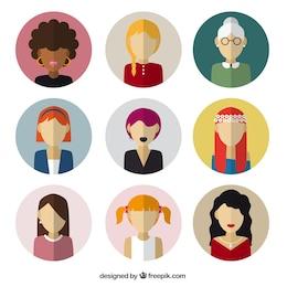 Avatares femeninos en diseño plano
