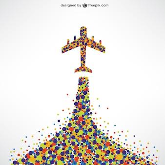 Avión hecho de puntos de colores