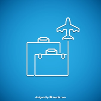 Avión y equipaje iconos