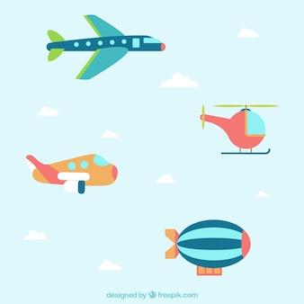 Aviones volando con plantilla de banners