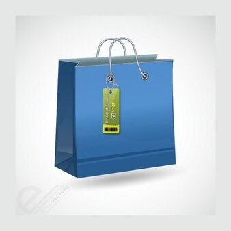 Azul nítido icono de bolsa de la compra
