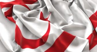 Bandera de Chipre Norte Ruffled Maravillosamente Acurrucado Horizontal Primer plano