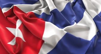 Bandera de Cuba Foto de estudio Ruffled Maravilloso Agarrar Horizontal Primer plano