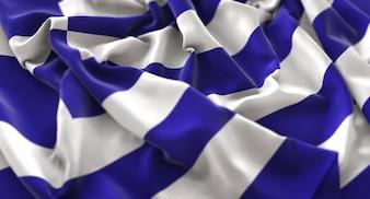 Bandera de Grecia Ruffled Bellamente Agitando Macro Foto de primer plano