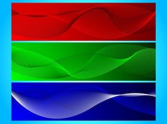 Bandera de líneas onduladas en rojo, azul y verde