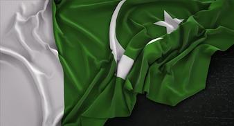 Bandera de Pakistán arrugado sobre fondo oscuro 3D Render