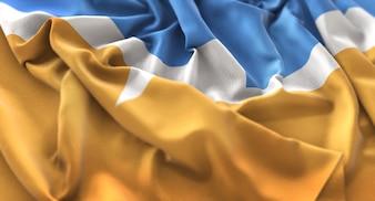 Bandera de Tierra del Fuego Ruffled Bellely Waving Macro Primer plano