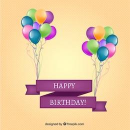 Bandera del feliz cumpleaños con globos