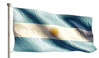 Bandera Nacional de Argentina Aislado fondo blanco 3D