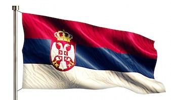 Bandera Nacional de Serbia aislado fondo blanco 3D