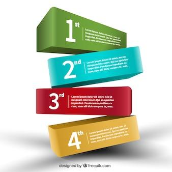 Banderas de colores 3d infografía
