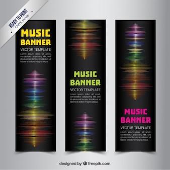 Banderas de la música con ondas de sonido