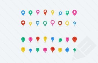 Banderines de colores para mapas