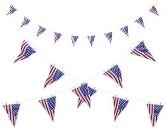 Banderines del día de la independencia americana