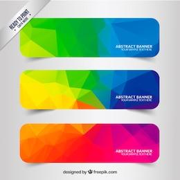 Banners abstractas con polígonos de colores