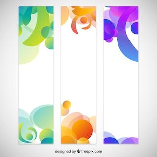 Banners abstractos con coloridas gotas de arco