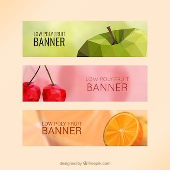 Banners con frutas con pocos polígonos