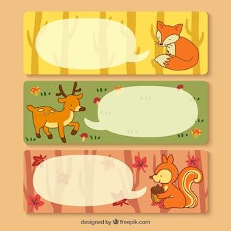 Banners con los animales del bosque