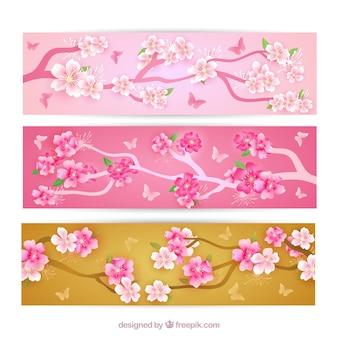 Banners de árbol de cerezo en flor