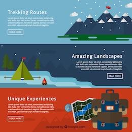 Banners de aventura en la montaña