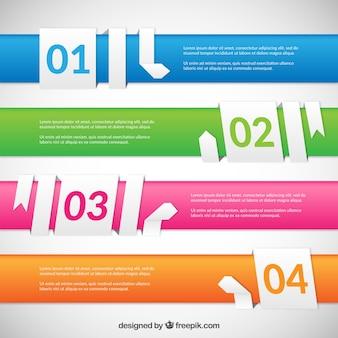 Banners de colores con cintas