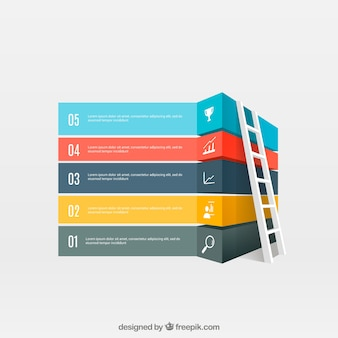 Banners de colores infográficos con una escalera