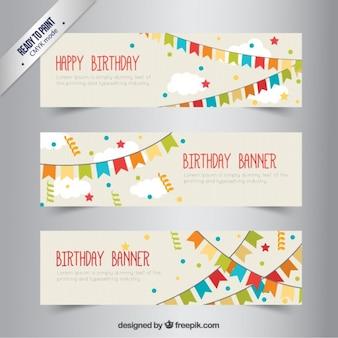 Banners de cumpleaños con banderillas