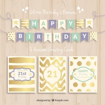 Banners de cumpleaños y tarjetas