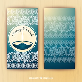 Banners de Diwali en estilo de acuarela