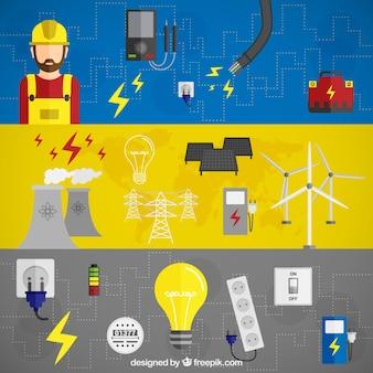 Banners de energía eléctrica