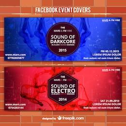 Banners de eventos rojo y azul
