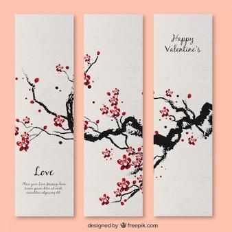 Banners de flor de cerezo para San Valentín