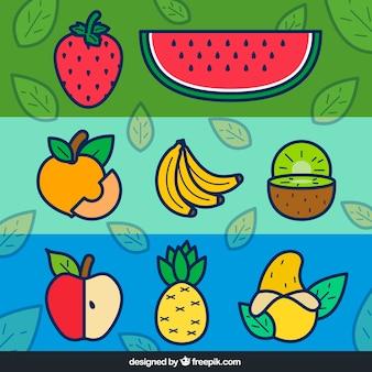 banners de frutas coloridas