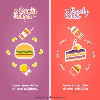 Banners de hamburguesa y pasteles