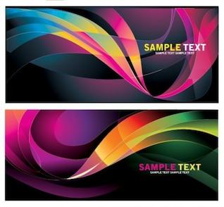 banners de onda de colores